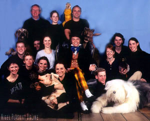 Nigel with the animal cast from Doctor Dolittle and Philip Schofield